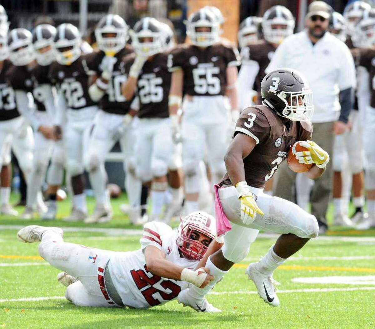 Brunswick's Jalen Madison, who had a big rushing game last year against Hotchkiss School, led the Bruins' ground attack in their season-opening road win over Loomis Chaffee School on Saturday night.