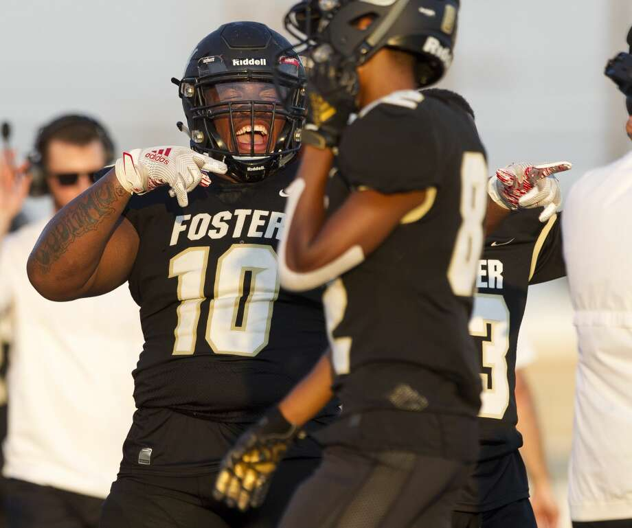 Foster nose guard Chidozie Nwankwo (10) reacts after a tight end De'Andre Chandler's 36-yard touchdown catch during the second quarter of a non-district high school football game at Guy K. Traylor Stadium, Saturday, Sept. 14, 2019, in Rosenberg. Photo: Jason Fochtman/Staff Photographer