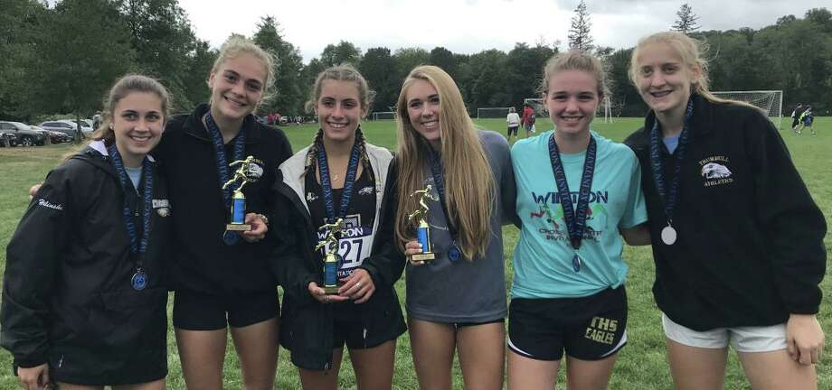 Risa Hilinski, Emily Alexandru, Alessandra Zaffina, Kali Holden, Maggie Basbagill and Allie Palmeiri placed for Trumbull at the Wilton Invitational. Photo: Contributed Photo / Trumbull High Athletics / Trumbull Times