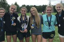 Risa Hilinski, Emily Alexandru, Alessandra Zaffina, Kali Holden, Maggie Basbagill and Allie Palmeiri placed for Trumbull at the Wilton Invitational.