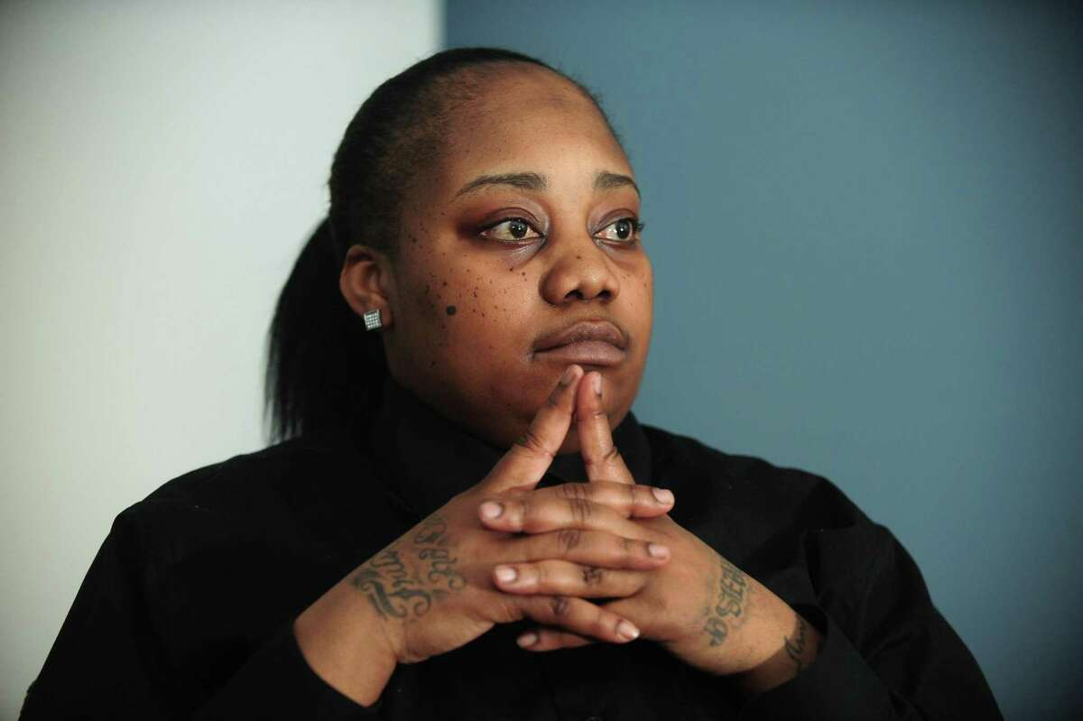 Tanya McDowell, the once homeless mother from Bridgeport convicted of stealing an education by illegally enrolling her 6-year-old son in a Norwalk school, speaks about her case Friday, March 24, 2017, with her attorney Darnell Crosland at his office in Stamford, Conn. McDowell has just been released from prison, having served 5 years in jail on larceny and drug-related charges. McDowell was thrust into the national spotlight after she was charged under a subsection of the first-degree larceny state statute applicable to defendants who obtain services or property by defrauding the public.