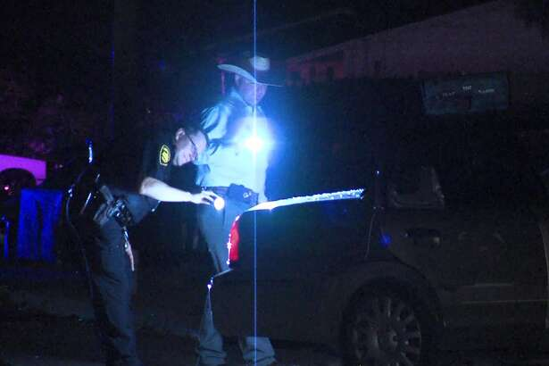 San Antonio police investigate a drive-by shooting on the East Side Saturday night, Sept. 14, 2019.
