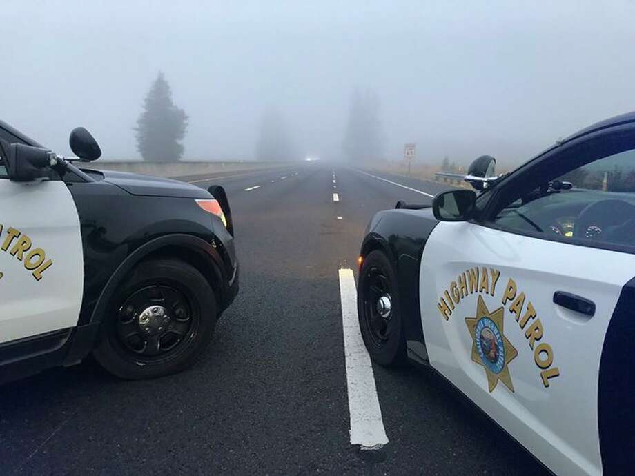 Highway 101 was closed near Santa Rosa on Sunday morning due to a police standoff with a vehicle. Photo: CHP Santa Rosa
