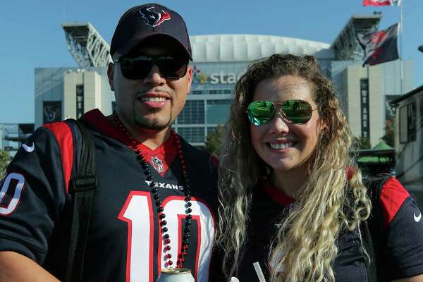 Houston Texans fans get ready for the home season opener against the Jacksonville Jaguars outsie NRG Stadium Sunday, Sept. 15, 2019, in Houston.
