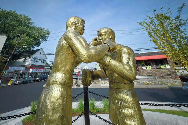Bronze sculptures honoring boxing legends Muhammad Ali and Joe Frazier are now on display at the revamped Boxer Square at the intersection of Smith Street and Stillwater Avenue in Stamford, Connecticut on Sept. 11, 2019.