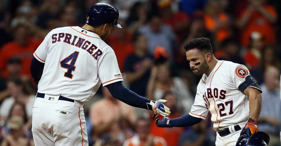 PHOTOS: Astros game-by-game Jose Altuve #27 of the Houston Astros is congratulated by George Springer #4 after hitting a home run in the second inning against the Oakland Athletics at Minute Maid Park on September 09, 2019 in Houston, Texas. (Photo by Bob Levey/Getty Images) Browse through the photos to see how the Astros have fared in each game this season. Photo: Bob Levey/Getty Images