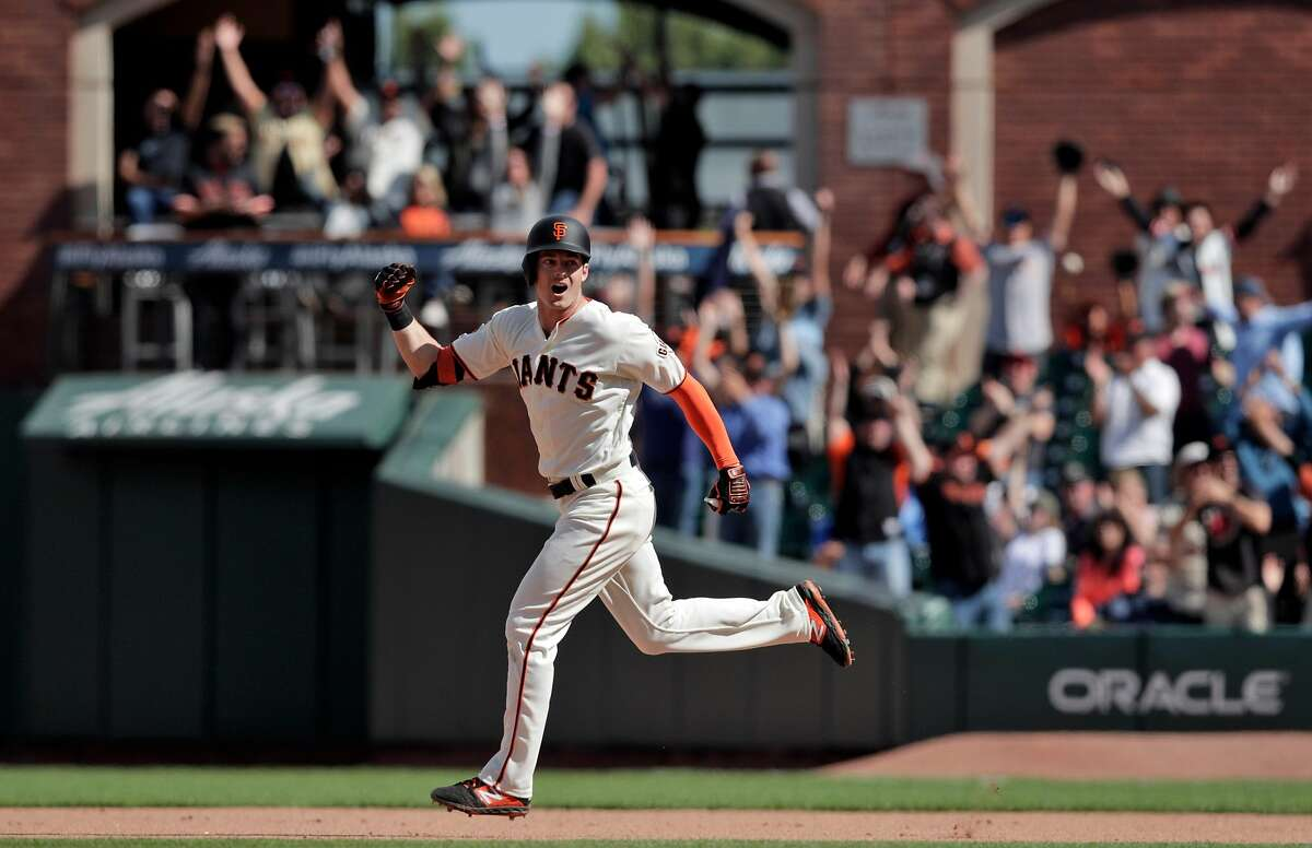 Mike Yastrzemski (5) celebrates as he rounds the bases on his solo homerun in the 12th inning as the San Francisco Giants played the New York Mets at Oracle Park in San Francisco, Calif., on Sunday, July 21, 2019. The Giants defeated the Mets on a walk-off home run by Mike Yastrzemski (5) in the 12th inning.