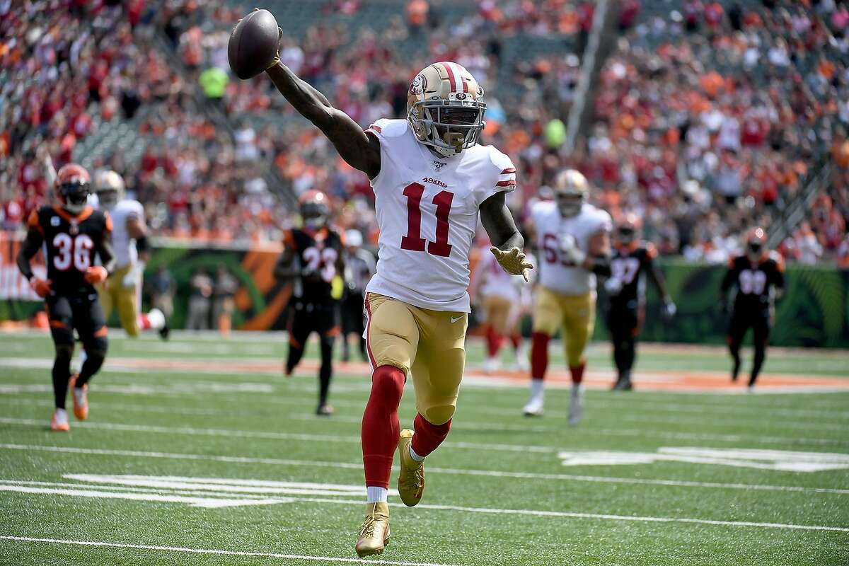 Marquise Goodwin #11 of the San Francisco 49ers runs for a touchdown during the first quarter of the game against the Cincinnati Bengals at Paul Brown Stadium on September 15, 2019 in Cincinnati, Ohio.