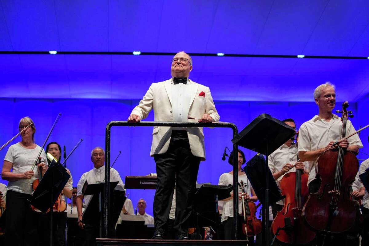 Pictured is Stuart Chafetz leading the Houston Symphony at the Symphony of Heroes concert on Sept. 11 at the Pavilion in The Woodlands.