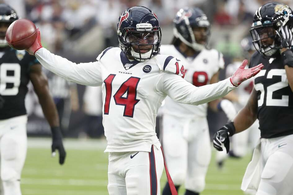 Houston Texans wide receiver DeAndre Carter (14) reacts during the first half of an NFL game at NRG Stadium, Sunday, Sept. 15, 2019, in Houston.