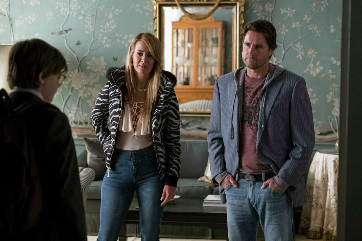 This image released by Warner Bros. Pictures shows Oakes Fegley, from left, Sarah Paulson and Luke Wilson in a scene from