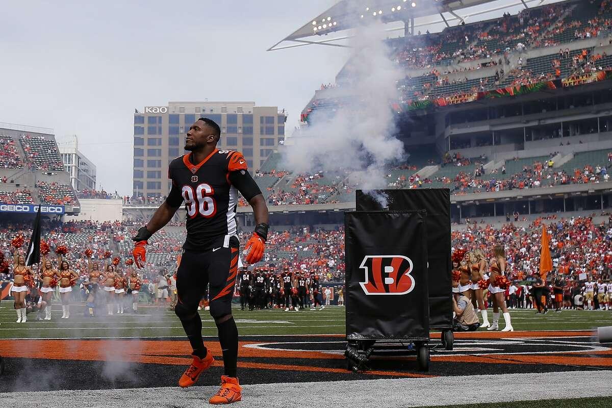 Cincinnati Bengals defensive end Carlos Dunlap (96) takes the field before an NFL football game against the San Francisco 49ers, Sunday, Sept. 15, 2019, in Cincinnati. (AP Photo/Gary Landers)