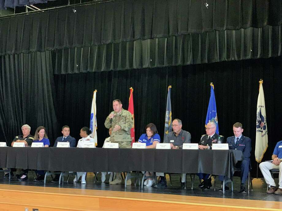Representatives from each of the five military academies and various ROTC programs spoke to area students Saturday, September 14, 2019 during a forum at Hardin-Jefferson High School. Photo: Isaac Windes/The Enterprise