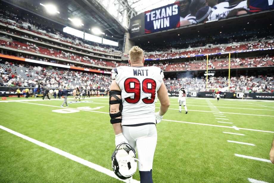 Houston Texans defensive end J.J. Watt (99) walks back to the locker room after the Texans beat the Jacksonville Jaguars 13-12 after an NFL game at NRG Stadium, Sunday, Sept. 15, 2019, in Houston. Photo: Karen Warren/Staff Photographer