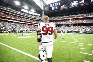 Houston Texans defensive end J.J. Watt (99) walks back to the locker room after the Texans beat the Jacksonville Jaguars 13-12 after an NFL game at NRG Stadium, Sunday, Sept. 15, 2019, in Houston.