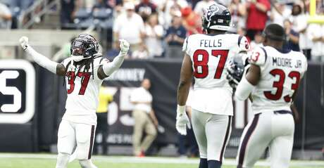 Houston Texans strong safety Jahleel Addae (37) reacts after the challenge after the Jacksonville Jaguars were denied their two-point conversion attempt during the second half of an NFL game at NRG Stadium, Sunday, Sept. 15, 2019, in Houston.