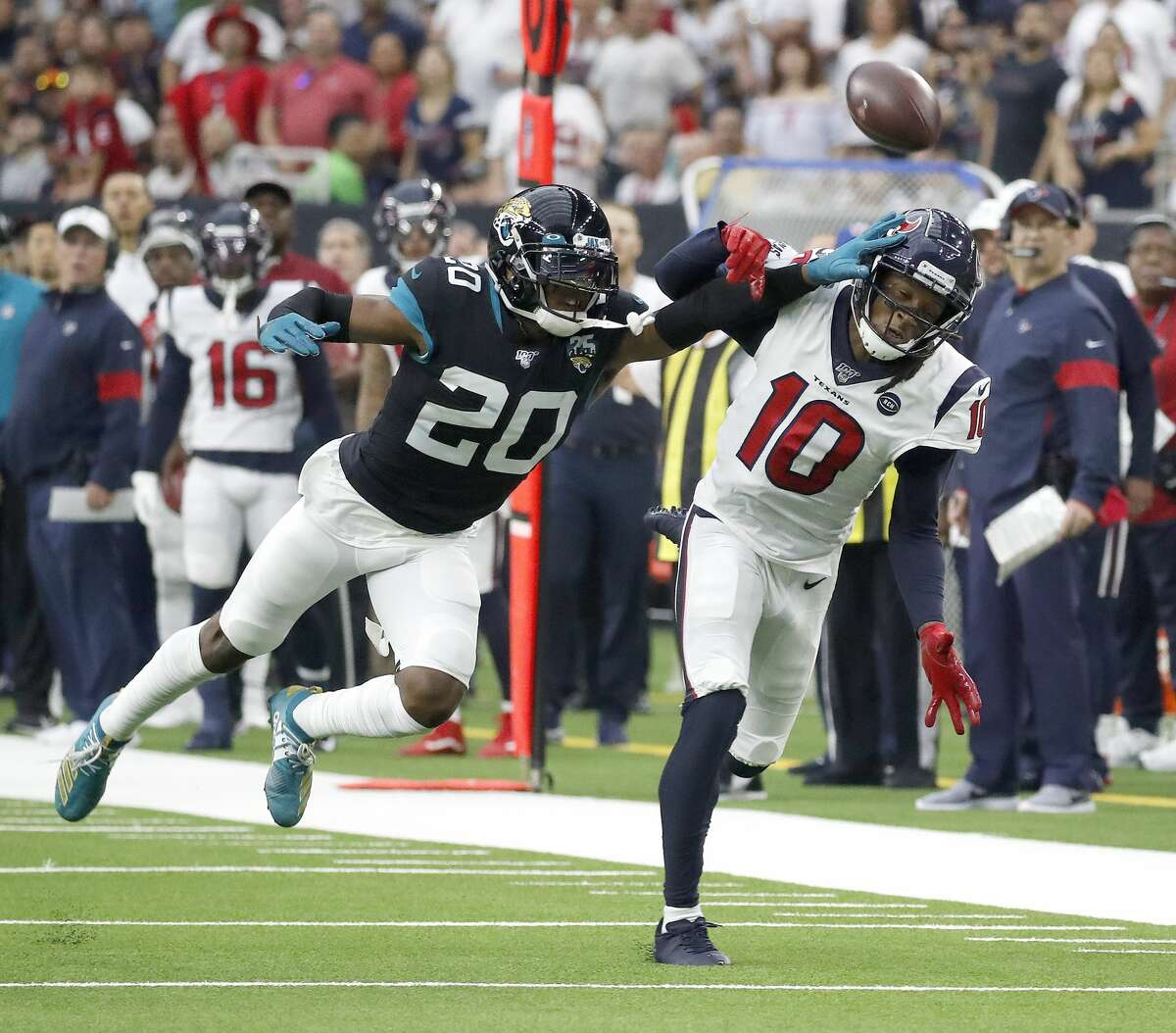 Jalen Ramsey (20) has requested a trade from the Jaguars. Do the Texans have the capital to swing another big deal and land the star cornerback?