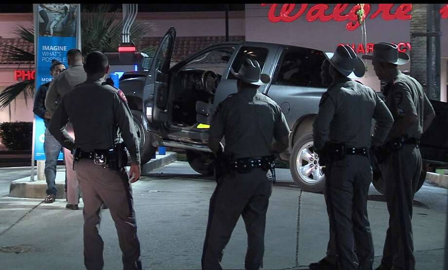 A Department of Public Safety trooper was conducting a traffic stop Saturday, Sept. 14, 2019, when officials say a man, who was later arrested for DWI, rammed a truck into the trooper's patrol vehicle and then crashed into a bank ATM. Photo: 21 Pro Video
