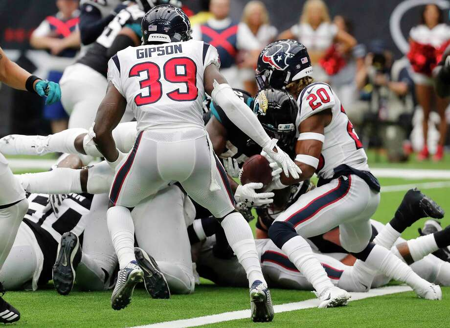 Houston Texans strong safety Justin Reid (20) stops Jacksonville Jaguars running back Leonard Fournette (27) short of the goal line on a 21-point conversion try during an NFL football game at NRG Stadium on Sunday, Sept. 15, 2019, in Houston. Photo: Brett Coomer, Houston Chronicle / Staff Photographer / © 2019 Houston Chronicle