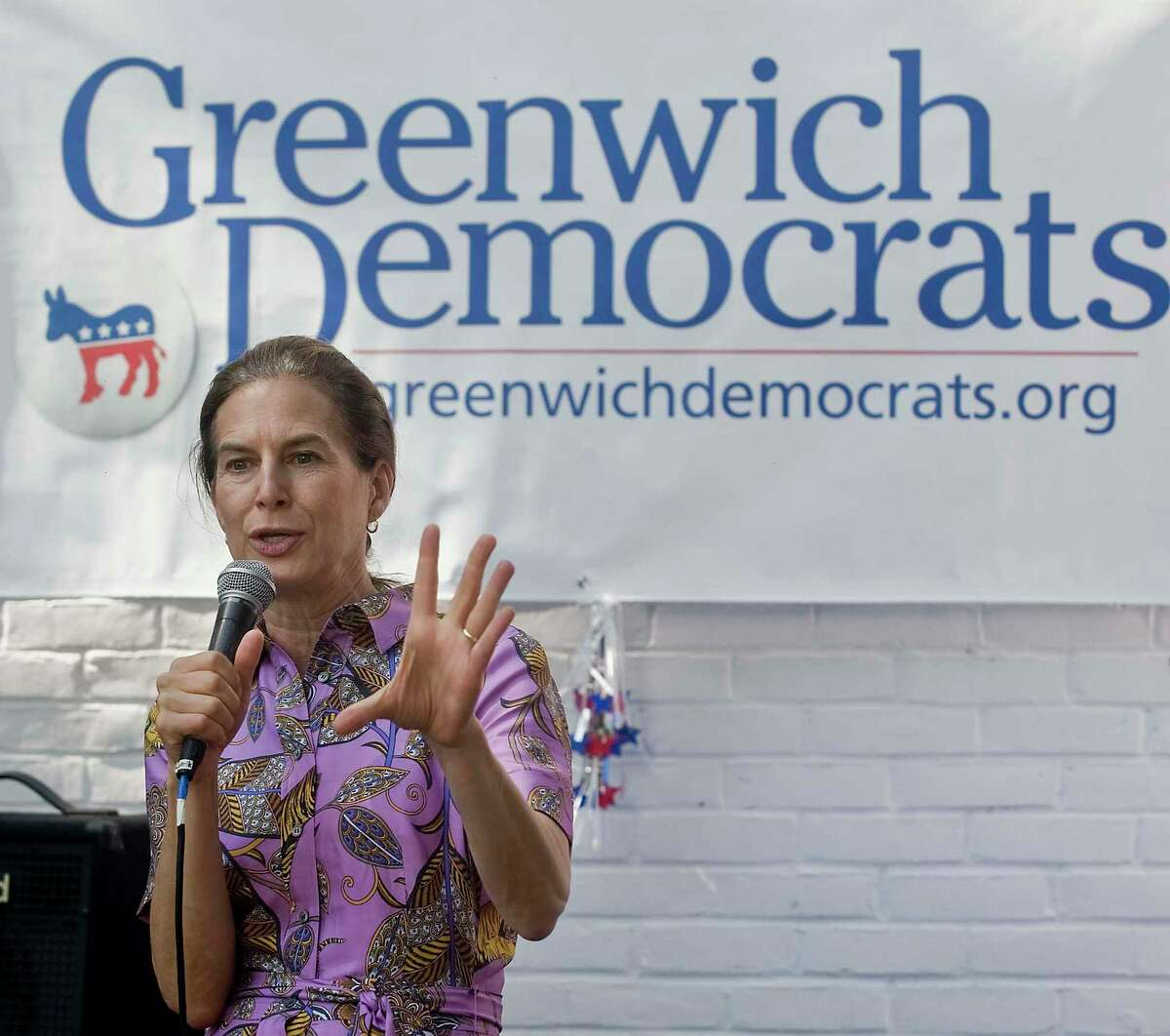 Connecticut Lt. Gov, Susan Bysiewicz speaks to the gathering at the Greenwich Democratic Town Committee's annual picnic at the Greenwich Botanical Center, on Sunday, Sept. 15, 2019
