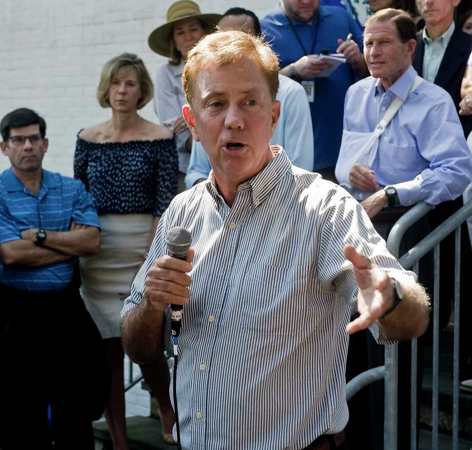 Connecticut Governor Ned Lamont addresses the gathering at the Greenwich Democratic Town Committee's annual picnic at the Greenwich Botanical Center, Sunday, Sept. 15, 2019 Photo: Scott Mullin / For Hearst Connecticut Media / The News-Times Freelance
