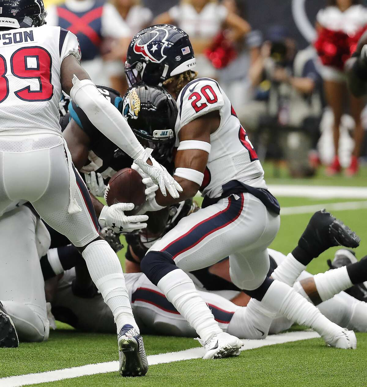Houston Texans strong safety Justin Reid (20) stops Jacksonville Jaguars running back Leonard Fournette (27) short of the goal line on a 21-point conversion try during an NFL football game at NRG Stadium on Sunday, Sept. 15, 2019, in Houston.