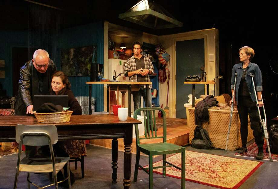 """From left,Mark Zeisler, Caroline Calkins, David Joseph and Tamara Hickey in """"Time Stands Still"""" at Shakespeare & co. (S& publicity photo by Emma Rothenberg-Ware.) Photo: Emma Rothenberg-Ware, Shakespeare & Co. / x-default"""