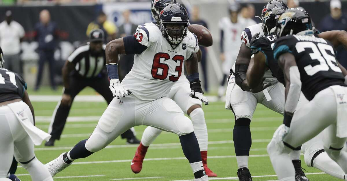Houston Texans offensive tackle Roderick Johnson (63) during the first half of an NFL football game against the Jacksonville Jaguars Sunday, Sept. 15, 2019, in Houston. (AP Photo/David J. Phillip)