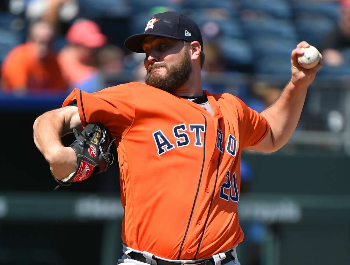 KANSAS CITY, MISSOURI - SEPTEMBER 15: Starting pitcher Wade Miley #20 of the Houston Astros throws in the first inning against the Kansas City Royals at Kauffman Stadium on September 15, 2019 in Kansas City, Missouri. (Photo by Ed Zurga/Getty Images)