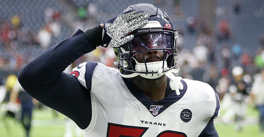 Houston Texans outside linebacker Whitney Mercilus (59) salutes the fans as he runs off the field after the Texans beat the Jacksonville Jaguars 13-12 in an NFL football game at NRG Stadium on Sunday, monthnameap} 15, 2019, in Houston. Photo: Brett Coomer/Staff Photographer / © 2019 Houston Chronicle