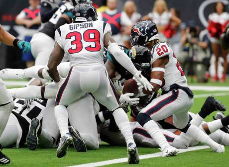 Texans safety Justin Reid stops Jacksonville running back Leonard Fournette short of the goal line on a 2-point conversion try in the second game of the season.