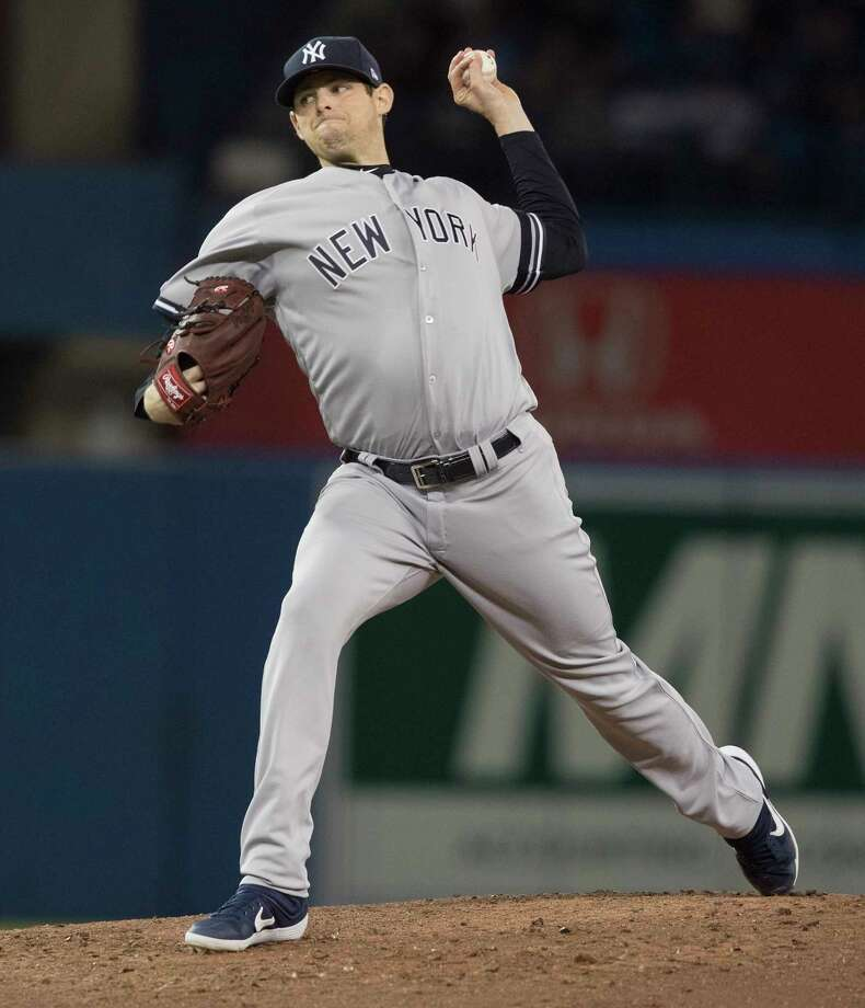 New York Yankees pitcher Jordan Montgomery throws against the Toronto Blue Jays during the second inning of a baseball game in Toronto, Sunday, Sept. 15, 2019. (Fred Thornhill/The Canadian Press via AP) Photo: Fred Thornhill / The Canadian Press