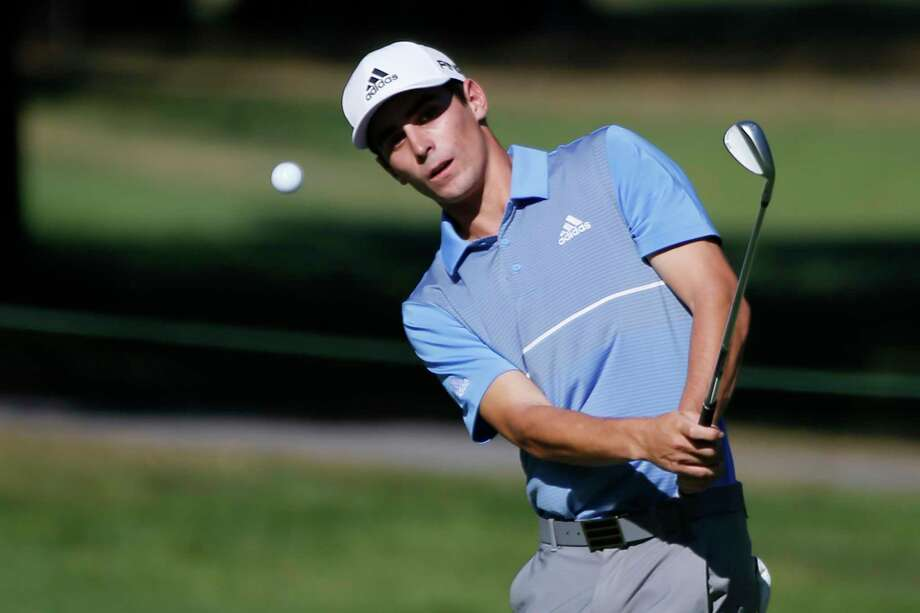Joaquin Niemann, of Chile, hits up to thew 11th green during the A Military Tribute at The Greenbrier golf tournament in White Sulphur Springs, W.Va., Sunday, Sept. 15, 2019. Niemann won the tournament. (AP Photo/Steve Helber) Photo: Steve Helber / Copyright 2019 The Associated Press. All rights reserved