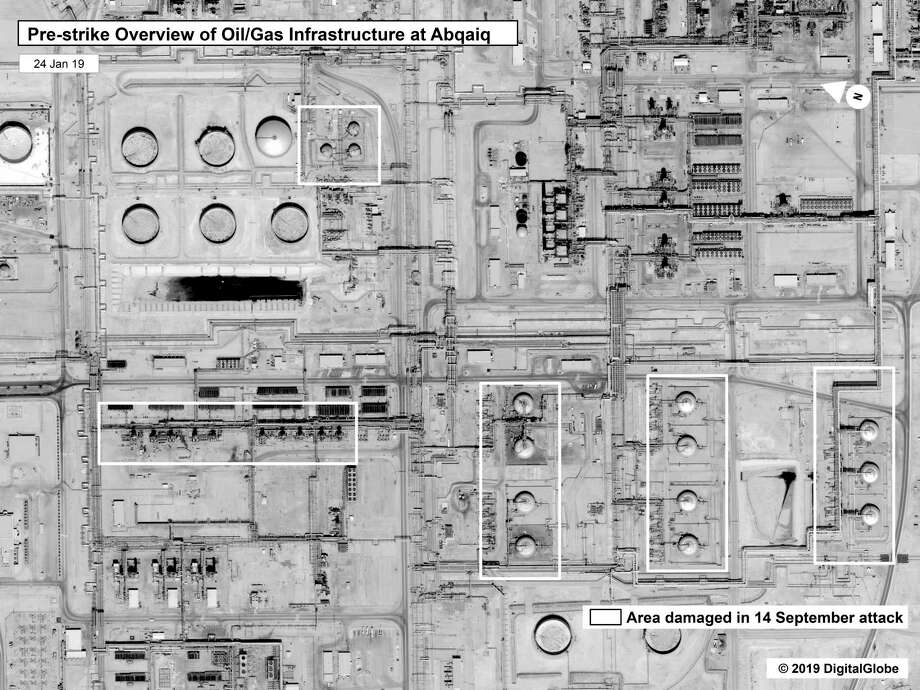 This image provided on Sunday, Sept. 15, 2019, by the U.S. government and DigitalGlobe and annotated by the source, shows a pre-strike overview at Saudi Aramco's Abaqaiq oil processing facility in Buqyaq, Saudi Arabia. The drone attack Saturday on Saudi Arabia's Abqaiq plant and its Khurais oil field led to the interruption of an estimated 5.7 million barrels of the kingdom's crude oil production per day, equivalent to more than 5% of the world's daily supply. (U.S. government/Digital Globe via AP) / U.S. Government/DigitalGlobe