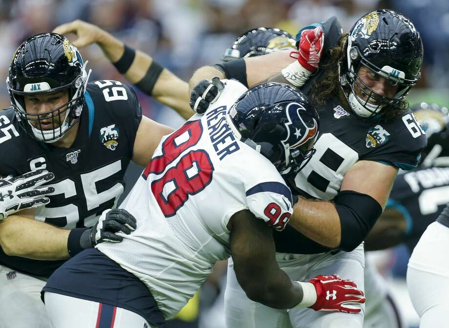 PHOTOS: Texans vs. Falcons Houston Texans defensive end D.J. Reader (98) and Jacksonville Jaguars offensive guard Andrew Norwell (68) battle each other during the second quarter of an NFL game at NRG Stadium Sunday, Sept. 15, 2019, in Houston. The Texans won 13-12. >>>See more photos from the Texans' win over the Falcons on Sunday ... Photo: Godofredo A Vásquez