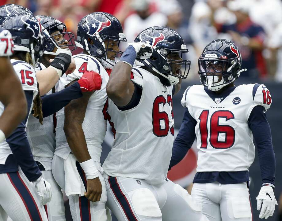 PHOTOS: John McClain's picks for Week 3 Houston Texans quarterback Deshaun Watson (4) celerbrates with teammates after scoring a two-yard rushing touchdown against the Jacksonville Jaguars during the fourth quarter of an NFL game at NRG Stadium Sunday, Sept. 15, 2019, in Houston. The Texans won 13-12. >>>See the General's predictions for winners and scores during Week 3 of NFL action ... Photo: Godofredo A Vásquez