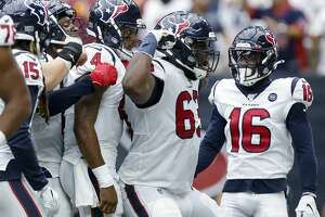 Houston Texans quarterback Deshaun Watson (4) celerbrates with teammates after scoring a two-yard rushing touchdown against the Jacksonville Jaguars during the fourth quarter of an NFL game at NRG Stadium Sunday, Sept. 15, 2019, in Houston. The Texans won 13-12.