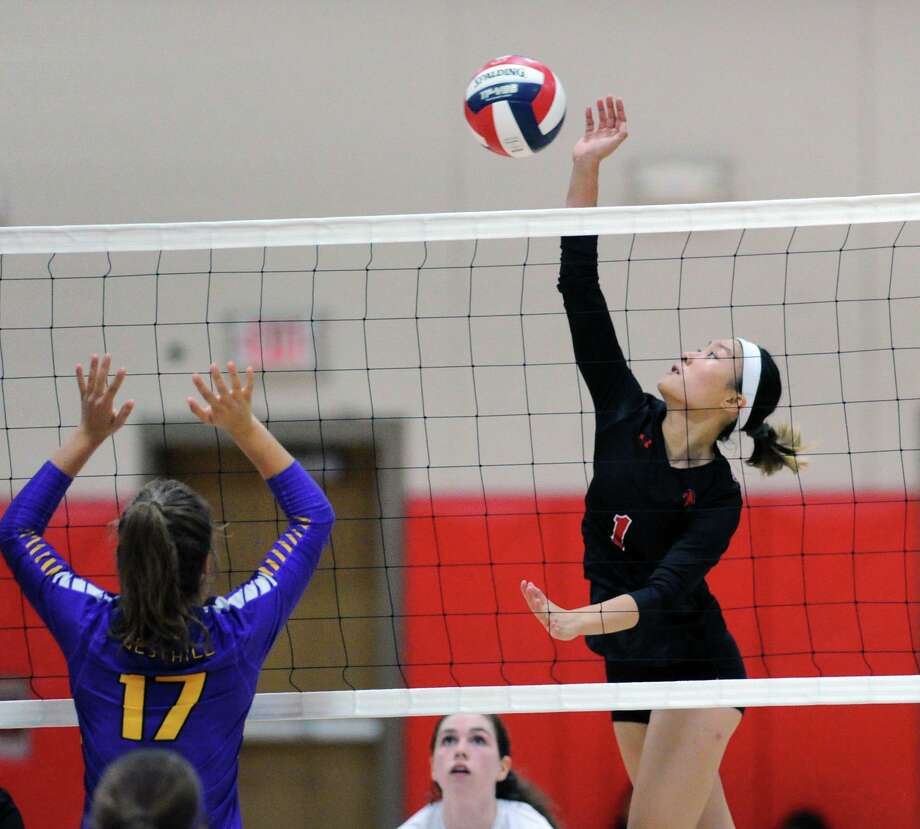 New Canaan's Alyssa Lee puts a shot back over the net during a volleyball match against Westhill at New Canaan High School on Sept. 18, 2018. Photo: Bob Luckey Jr. / Hearst Connecticut Media / Greenwich Time