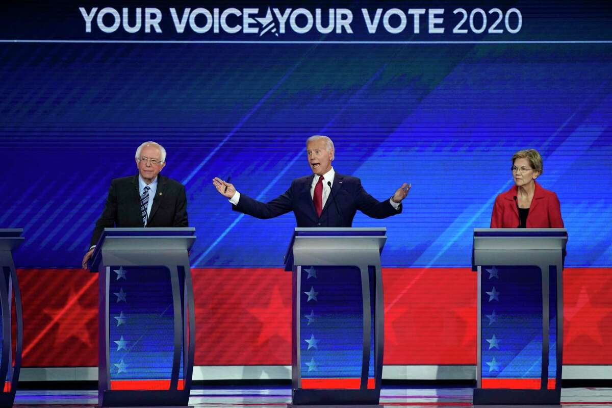 The three leading Democratic presidential hopefuls - Sen. Bernie Sanders, from the left, former Vice President Joe Biden and Sen. Elizabeth Warren - are all in their seventies.