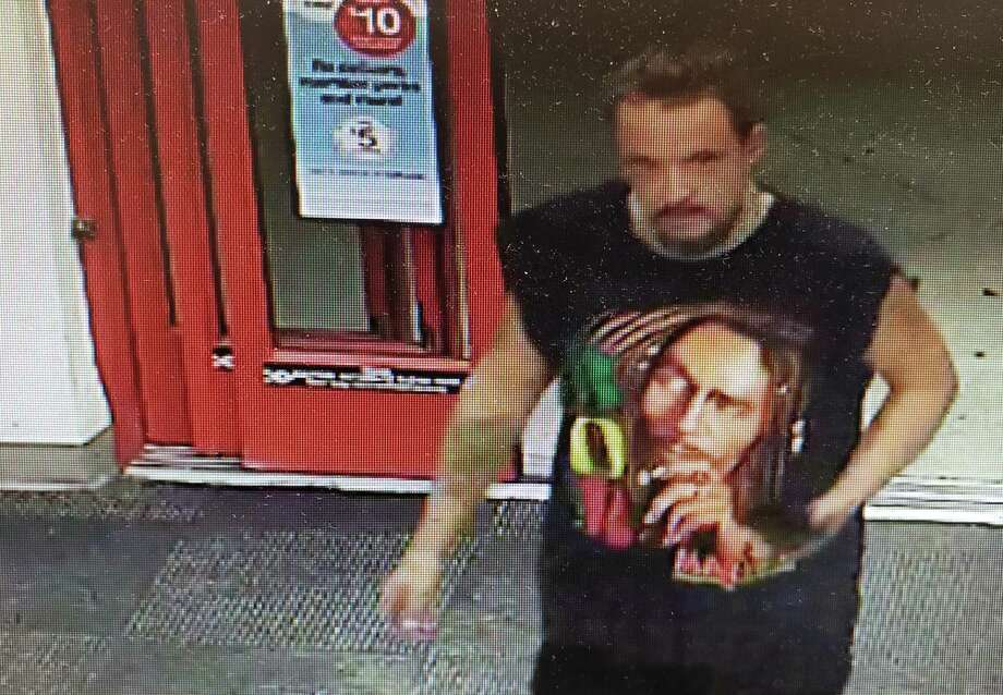 "State Police are asking the public's help to ID a shoplifting suspect who stole $500 worth of facial healthcare products from a CVS in Putnam on Sept. 8, 2019. The suspect is described as a white male wearing a Bob Marley tank top shirt with dark hair made up into a ""man bun."" Photo: CT State Police"