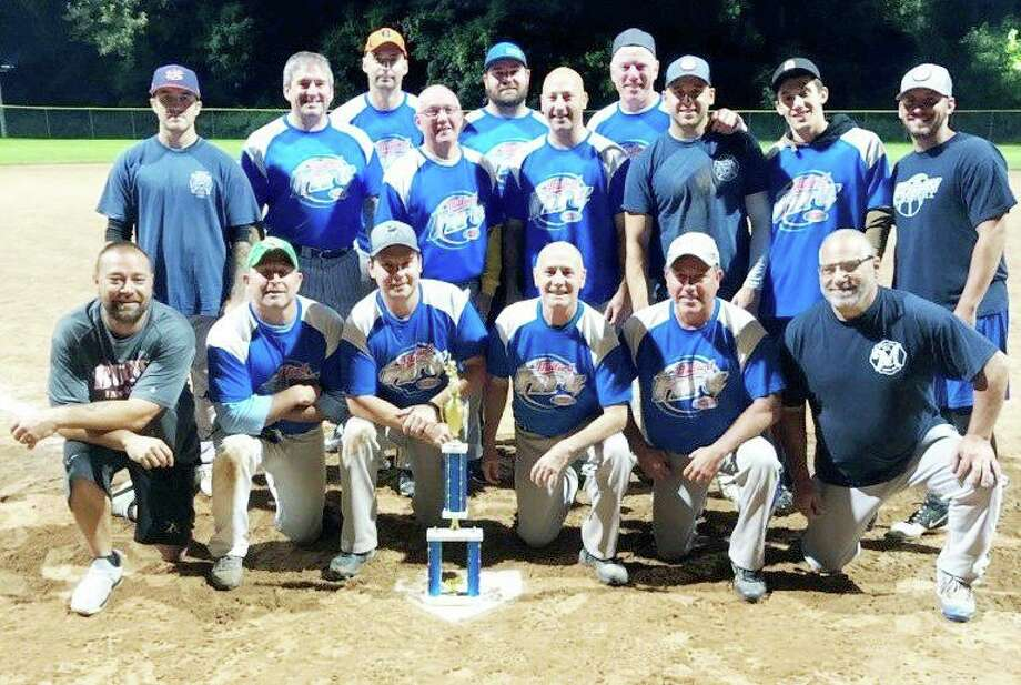 The City of Milford Heat defeated Bridgeport Fire by the score of 12-4 on Thursday at Foote Field to capture their second straight Ed Degnan Memorial Industrial Softball League Playoff Championship. Milford Heat and Bridgeport Fire shared the regular season title with 9-3 records. Team members (front row): Brian Rainey, Ryan Antonino, Brandon Edo, Doug Edo, Gil Hoyt and Phil Ciolino; (second row T.J. Mangan, Mike Wydra, Paul Piscitelli, Steve Rabel, Tucker Schumitz, Mike Andinolfi and James Richetelli; (third row) Frank Murphy, Joe Urban and Gavin O'Brien. Photo: Contributed Photo / Milford Rec. Dept. / Milford Mirror