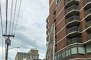 "The elevators at the seven-story Charles T. McQueeney Towers building are out of service following a kitchen fire on Monday, Sept. 16, 2019. Rick Fontana said the the elevators are out of service due to water damage from the sprinker system. ""No injuries although some elderly individuals with physical disability were carried down stairs for evaluation,"" Fontana said in an email."