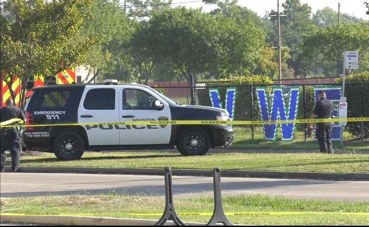 Houston police investigate a deadly officer-involved shooting near Valley West Elementary in the 10700 block of S. Gessner on Monday, Sept. 16, 2019.