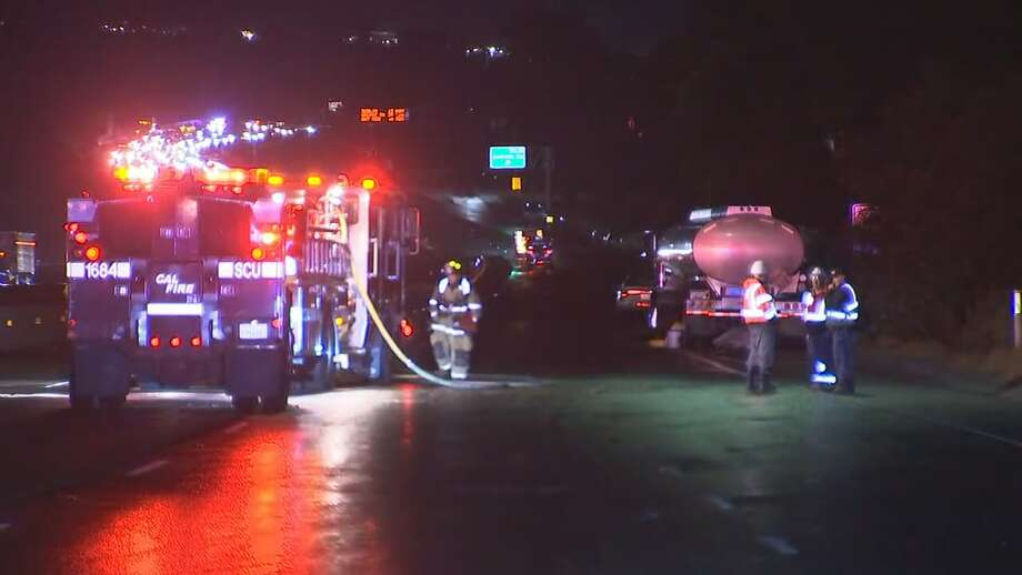 All lanes of northbound Interstate Highway 680 are closed just outside of the Fremont city limits in unincorporated Alameda County due to a collision involving a big rig and hazmat spill. Sept. 16, 2019 Photo: KTVU