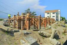 A view of piling being readied for a new home along Fairfield Beach Road in Fairfield, Conn., on Friday July 27, 2018. Many of the homes along this road have already been elevated off the ground and placed on piling since the devastation on Superstorm Sandy in 2012.