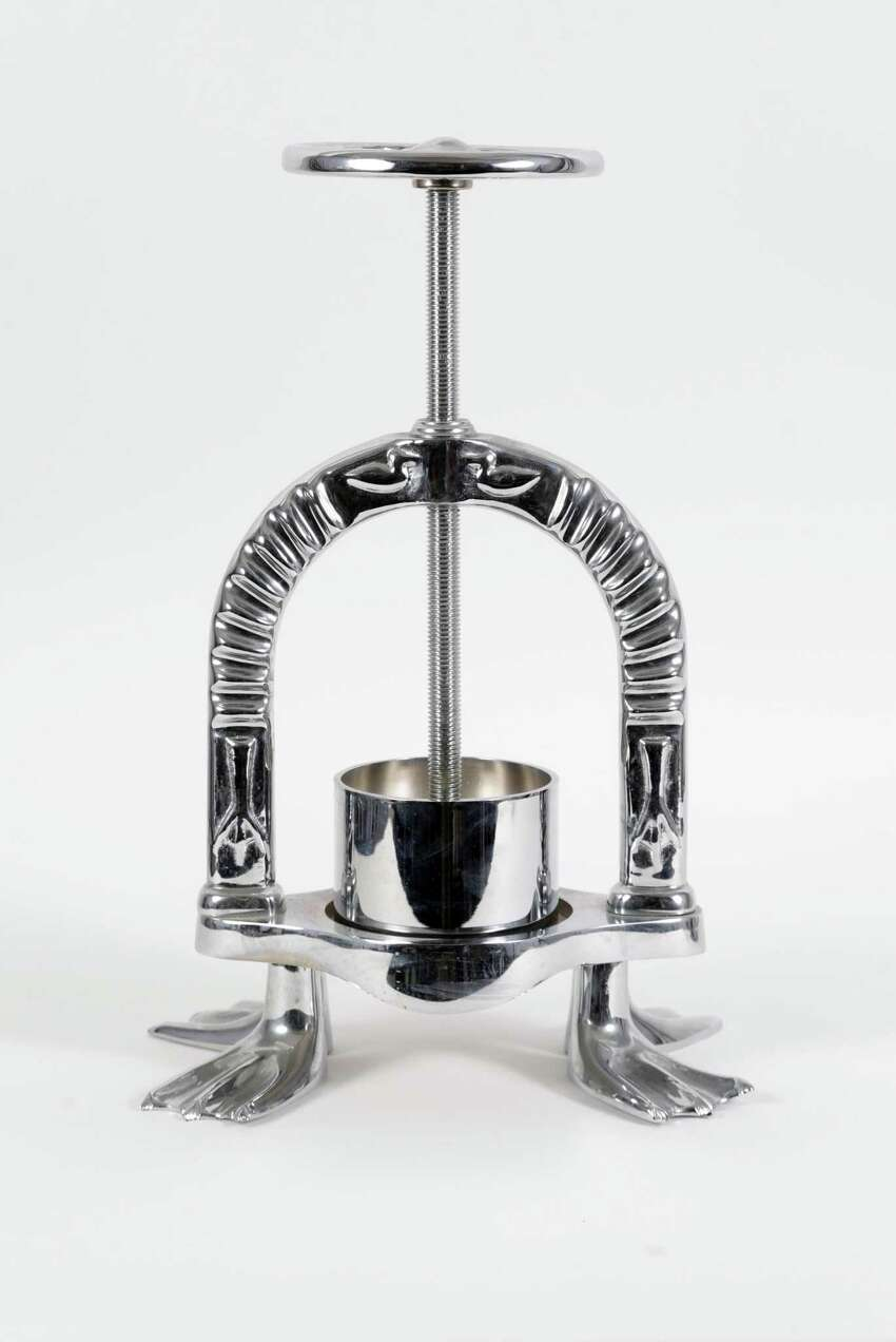 This chrome-plated duck press will be among the items from the late Anthony Bourdain's estate exhibited in New Braunfels and sold in an online auction.