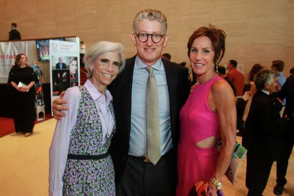 EMBARGOED FOR SOCIETY REPORTER UNTIL 9.17 Judy Nyquist, left, with David and Heidi Gerger at the Symphony Opening Night Concert at Jones Hall on September 14, 2019.