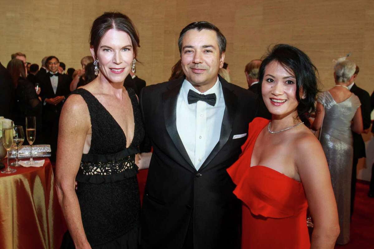 Jennifer Adkisson, left, with Jorge and Esther Puig at the Symphony Opening Night Concert at Jones Hall on September 14, 2019.