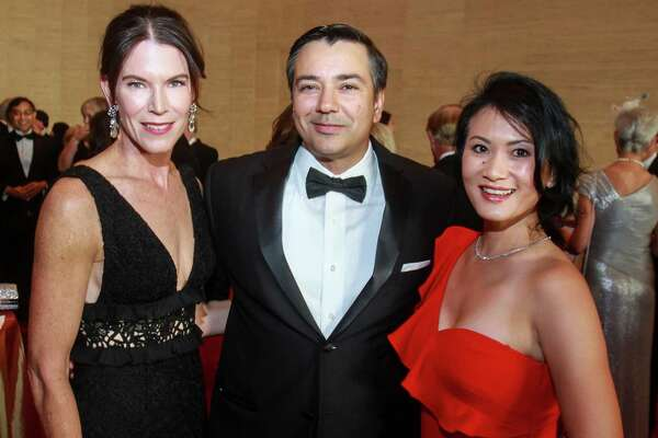 EMBARGOED FOR SOCIETY REPORTER UNTIL 9.17 Jennifer Adkisson, left, with Jorge and Esther Puig at the Symphony Opening Night Concert at Jones Hall on September 14, 2019.