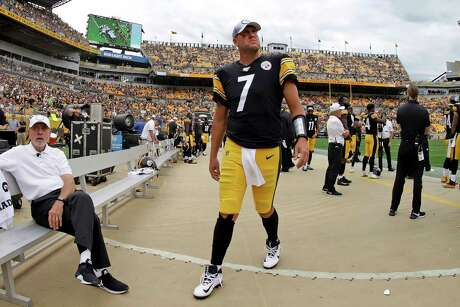 Pittsburgh Steelers quarterback Ben Roethlisberger (7) walks off the field as time runs out in a loss to the Seattle Seahawks in an NFL football game in Pittsburgh, Sunday, Sept. 15, 2019. Roethlisberger did not play the second half of the game.